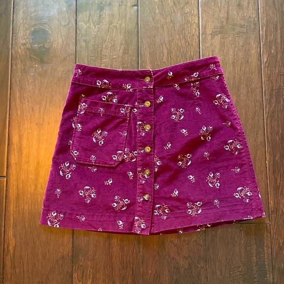 Free People purple velvet mini skirt
